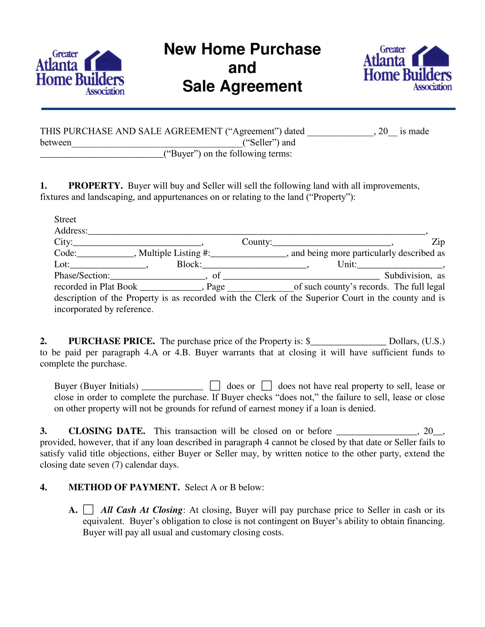 sale document form property purchase