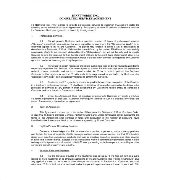 consultant scope of work template document sample