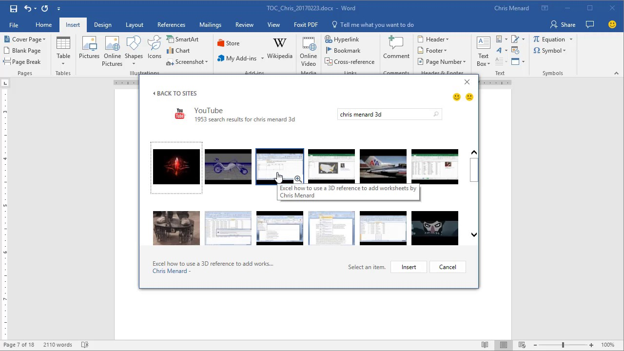 how to embed a youtube video into word document