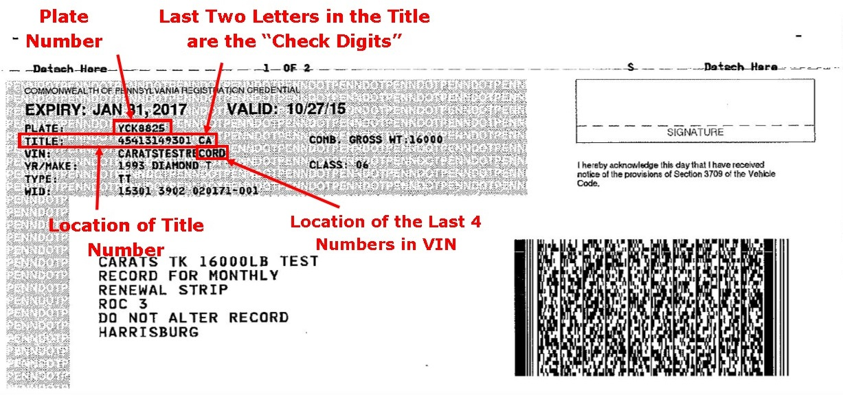 what does a vehicle registration document look like