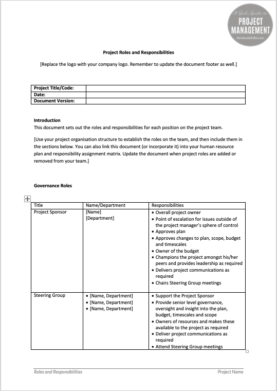project management roles and responsibilities document