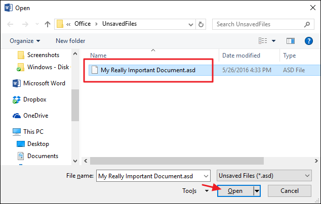 recover microsoft document unsaved mac