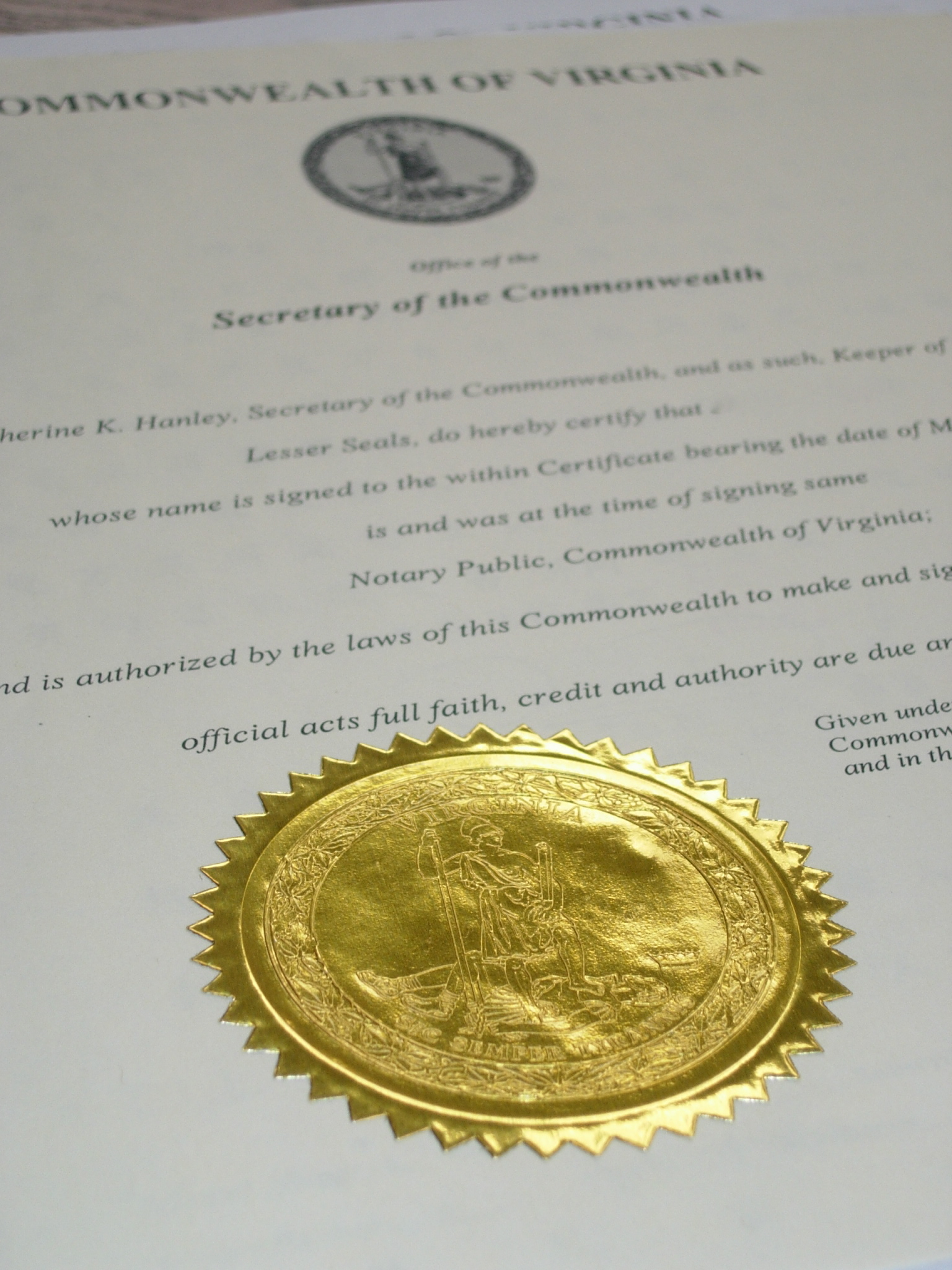 secretary of state document authentication