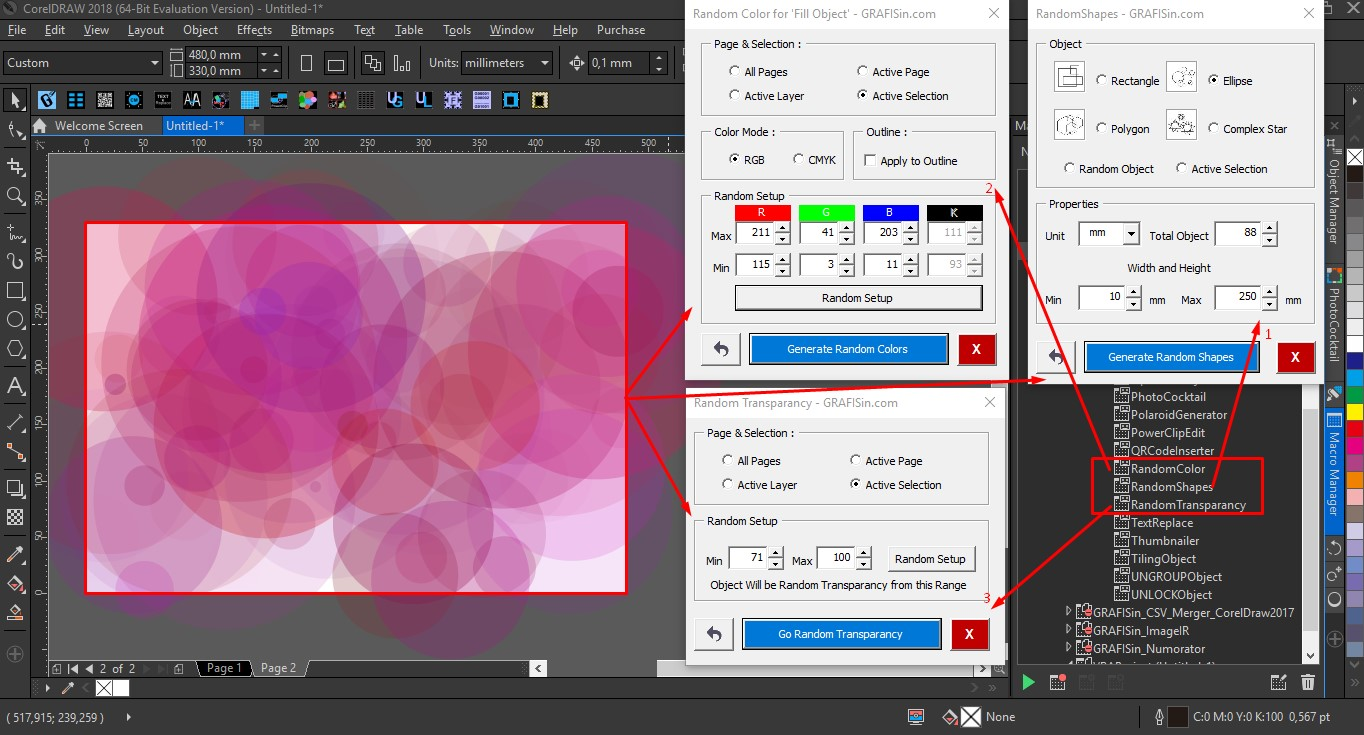 corel x8 document colours missing botton page