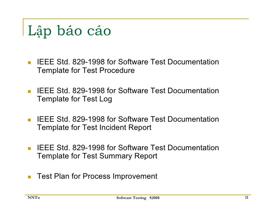 ieee 829 test documentation templates