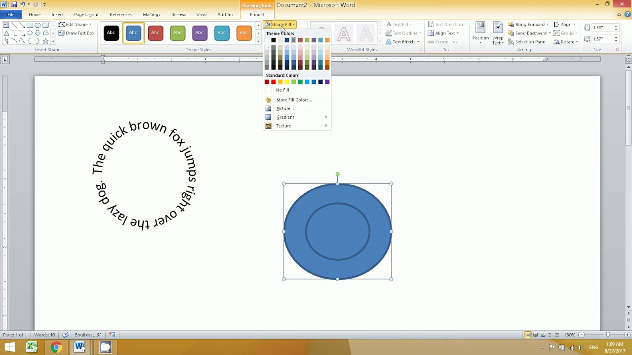 how to insert pictures in circles in word document