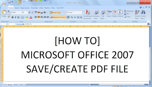 how to save a document in pdf 2007