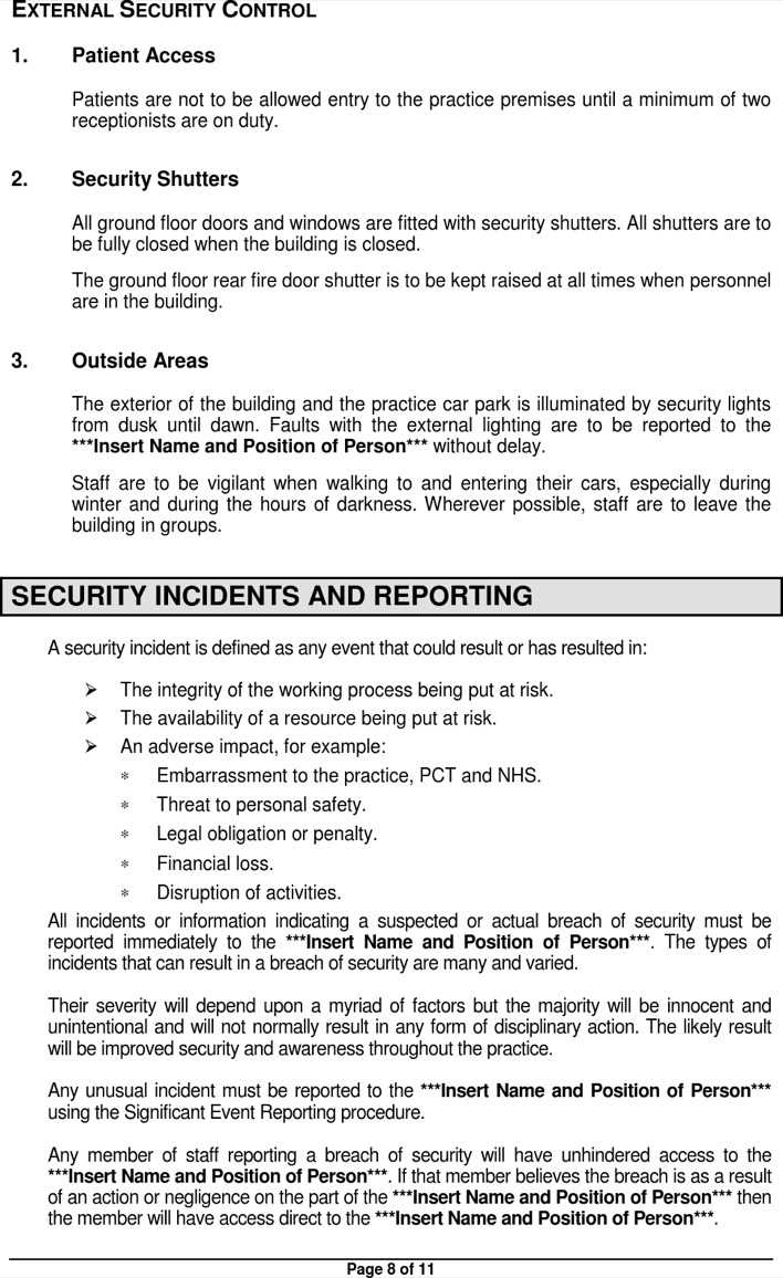 sample physical security policy document