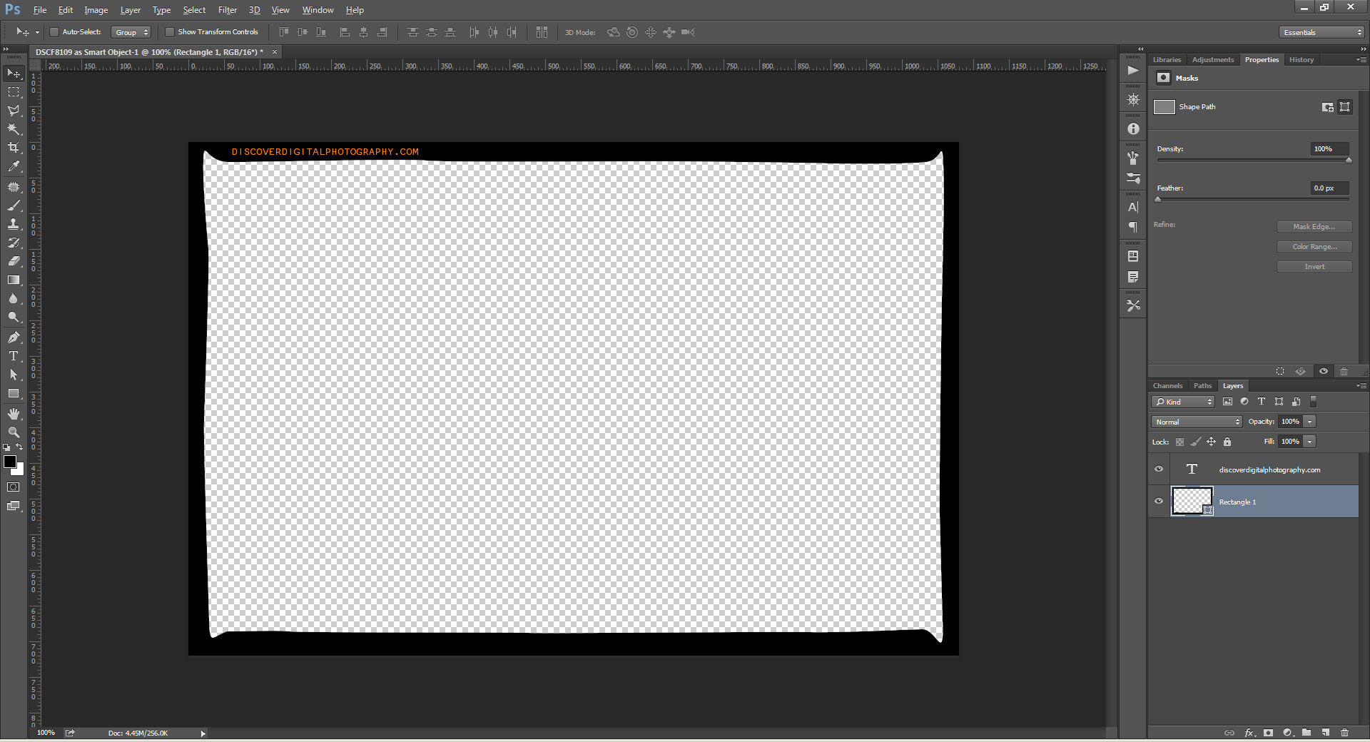 how to create a border to a document in photoshop