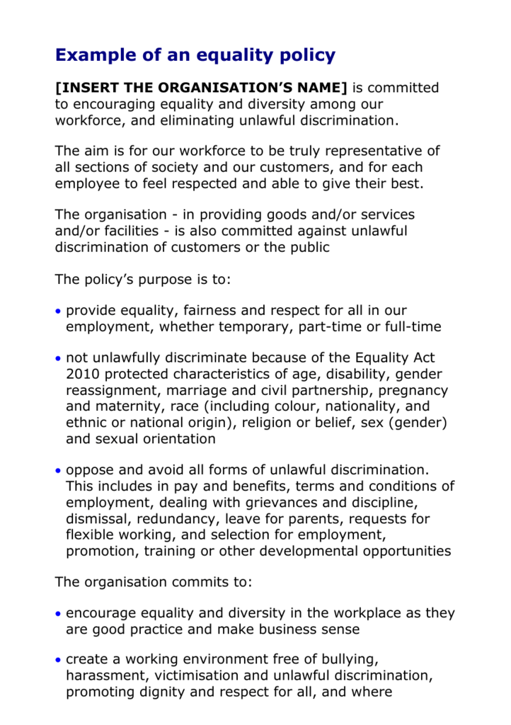 organisational procedures for equality and diversity including documentation