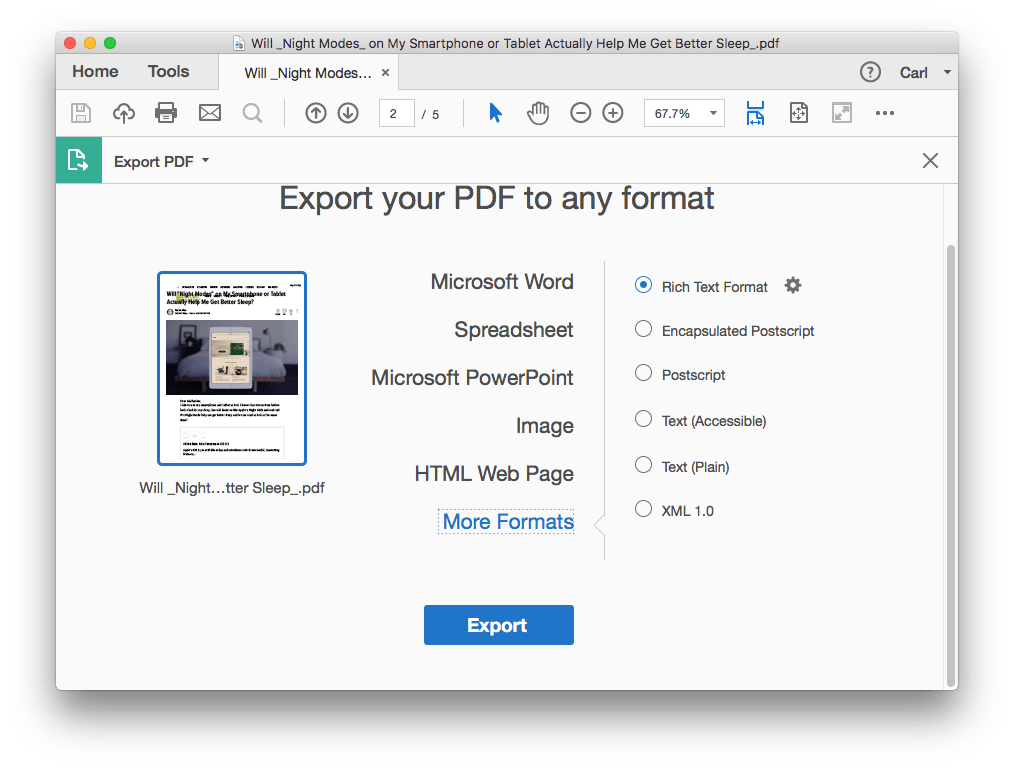 how to convert document to pdf on mac