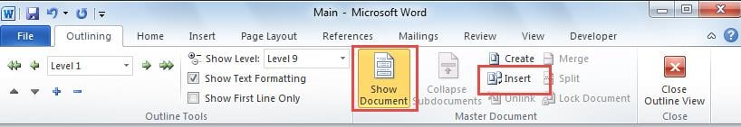 create a master document in word 2016