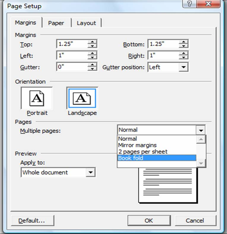 how to set up a word document as a bookley