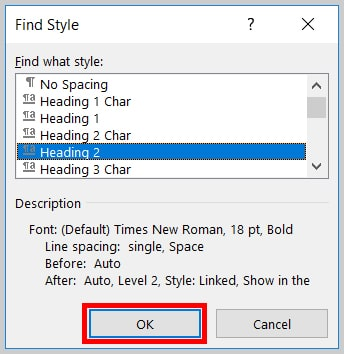 find text in word document