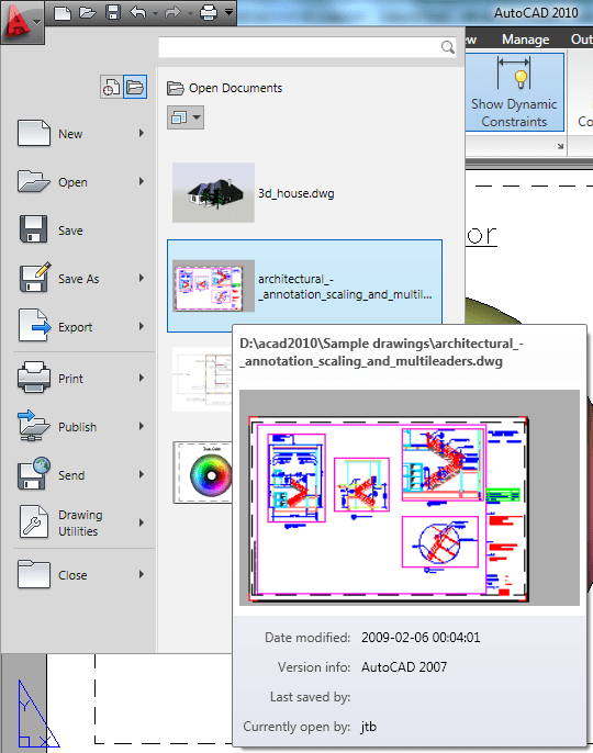 autocad how to tell when a document was opened