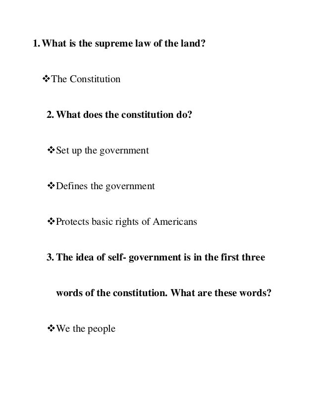 what document is the supreme law of the land