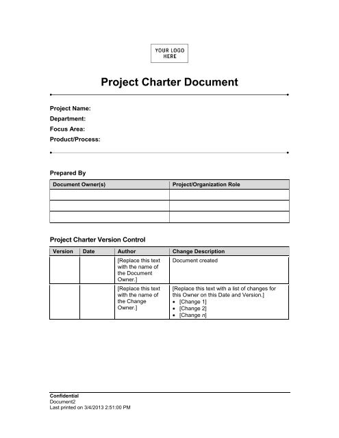 project charter document prepared at