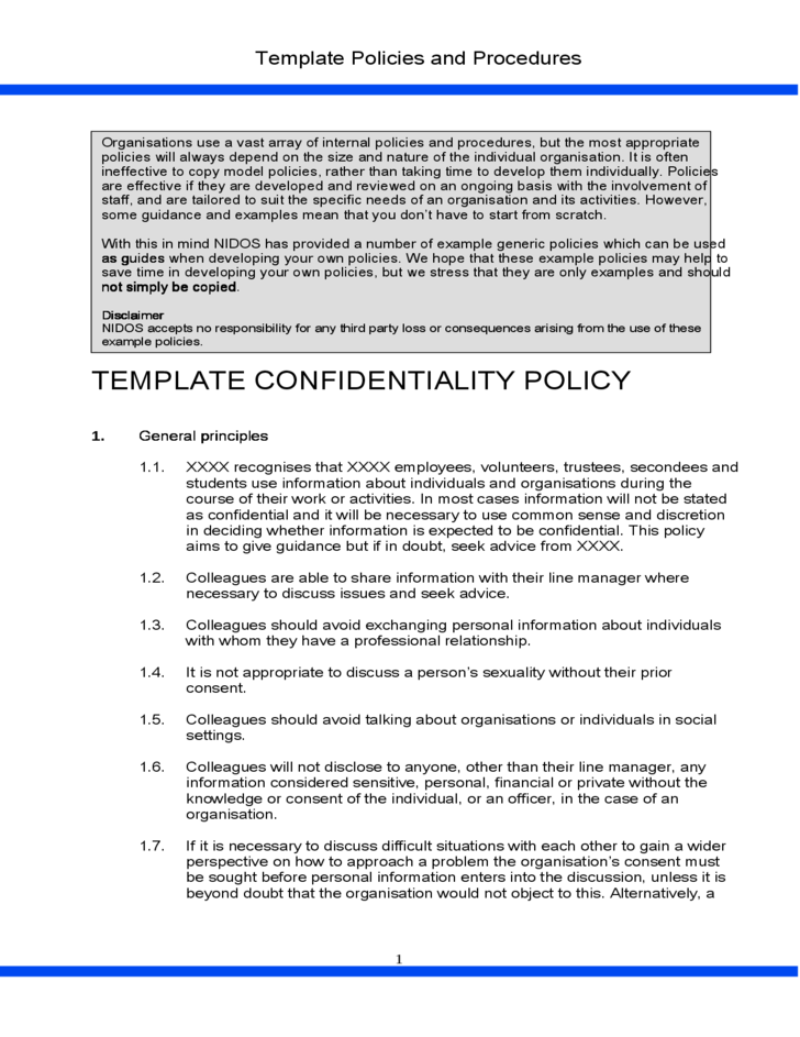 document examples for mcdonald policies and procedures to provide information