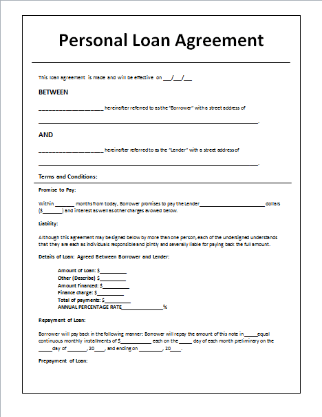 line of credit loan document