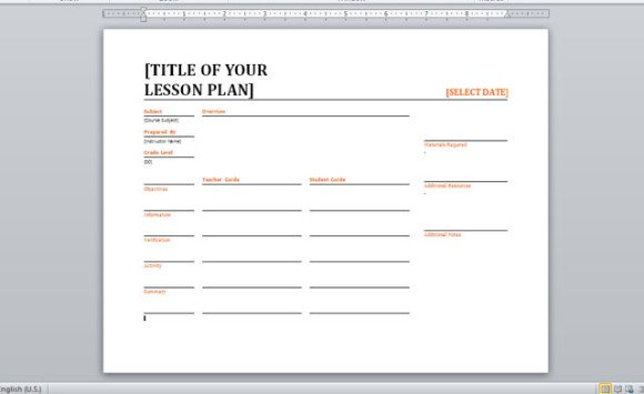 daily lesson plan template word document