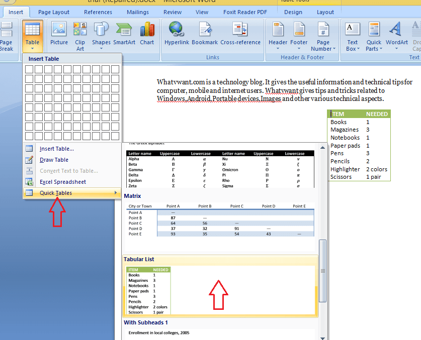how to insert list of tables in word document