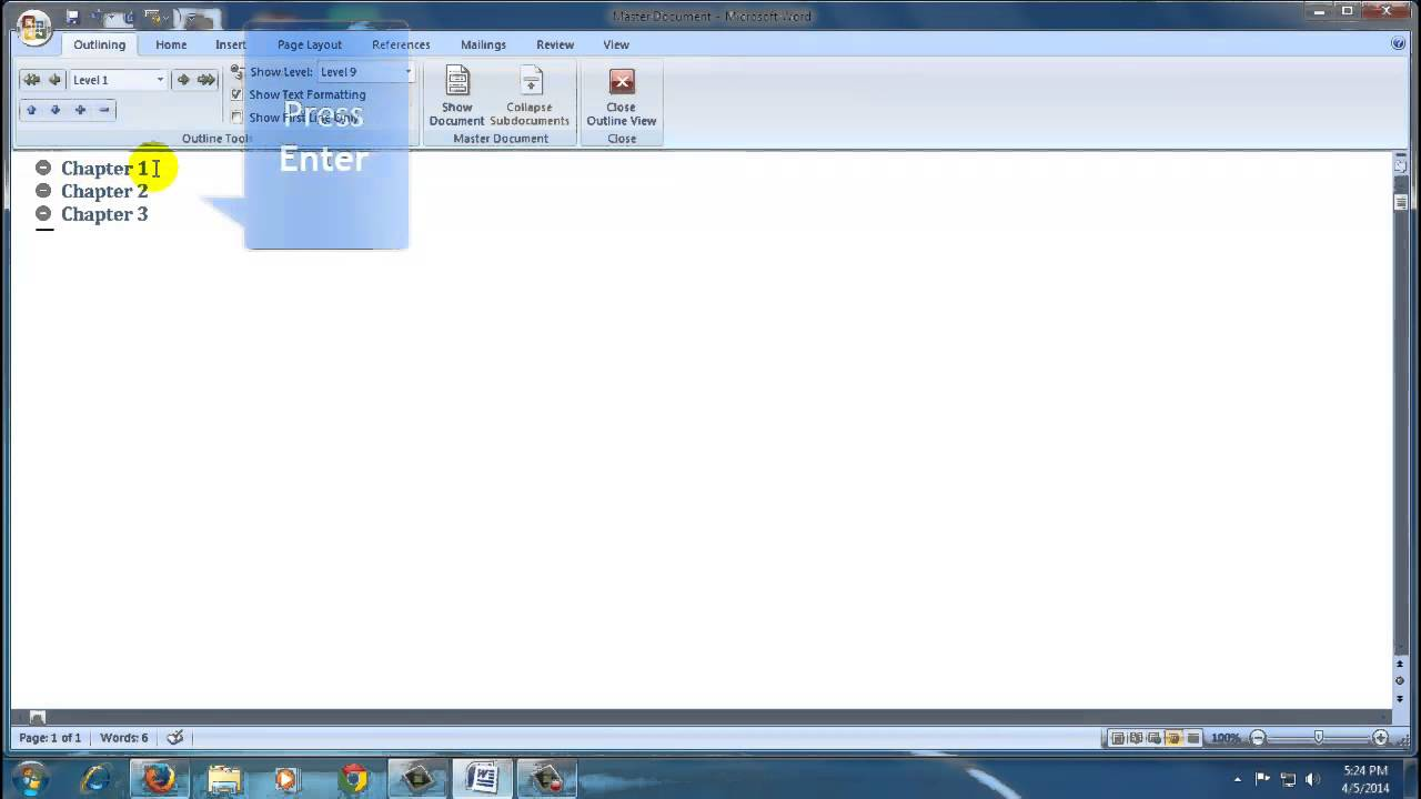 how to make word document master