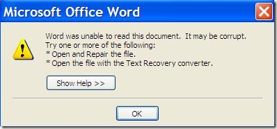 how to corrupt a word document so it wont open