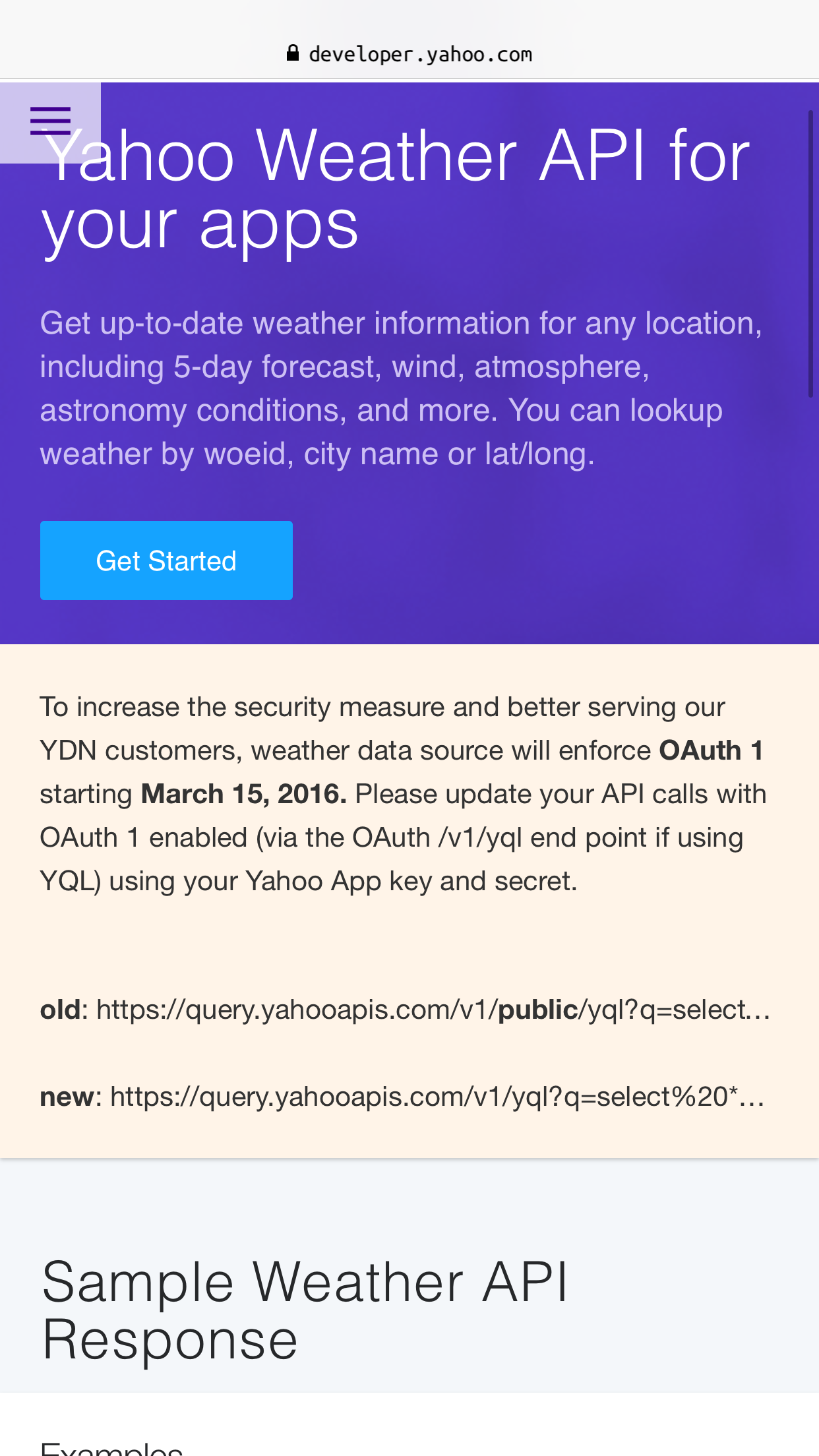yahoo weather api documentation