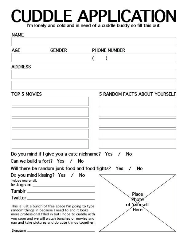 official cuddle buddy application word document