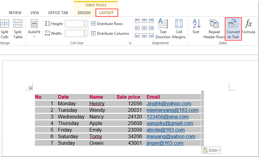 excel import data from word document