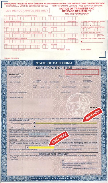 document to sign when selling a car