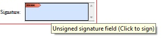 pdf document with signature field