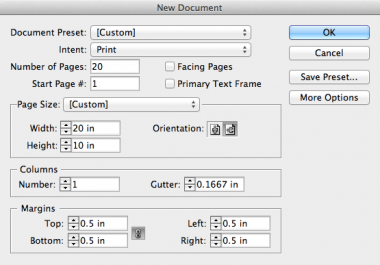 how to set up an indesign document