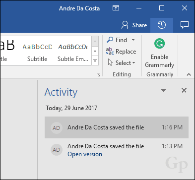 restore earlier version of word document