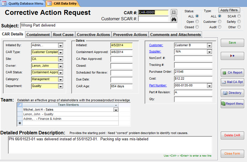 free document control access database template