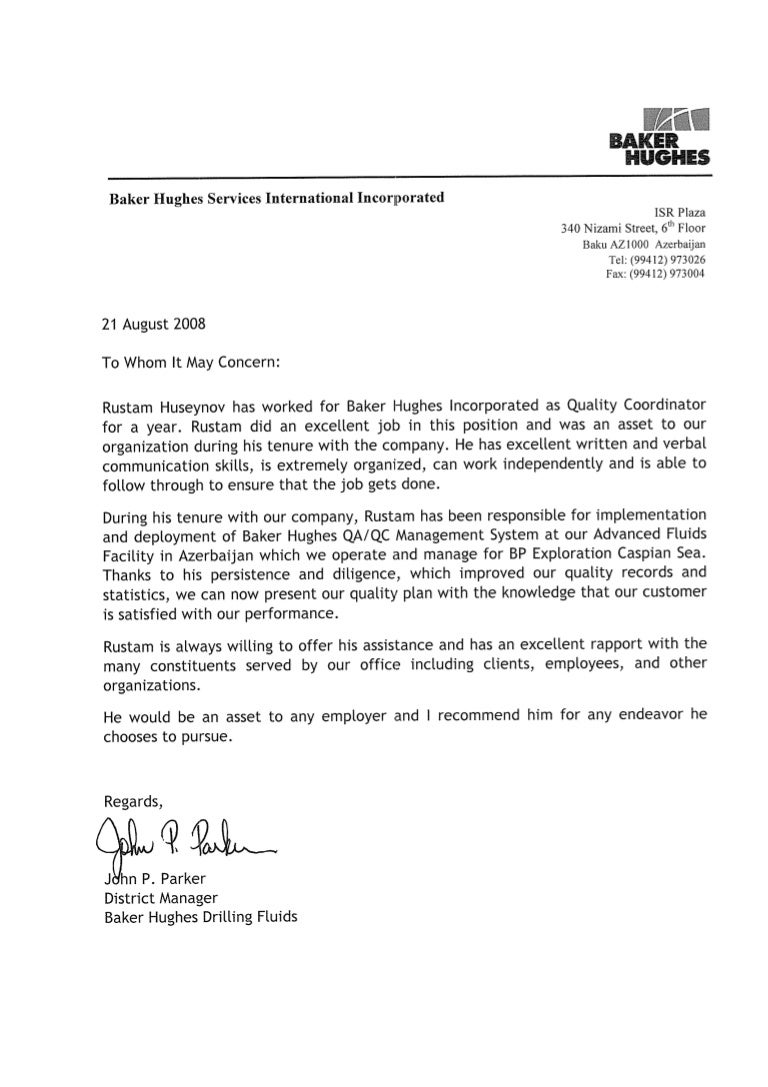 sample letter of recommendation for document controller