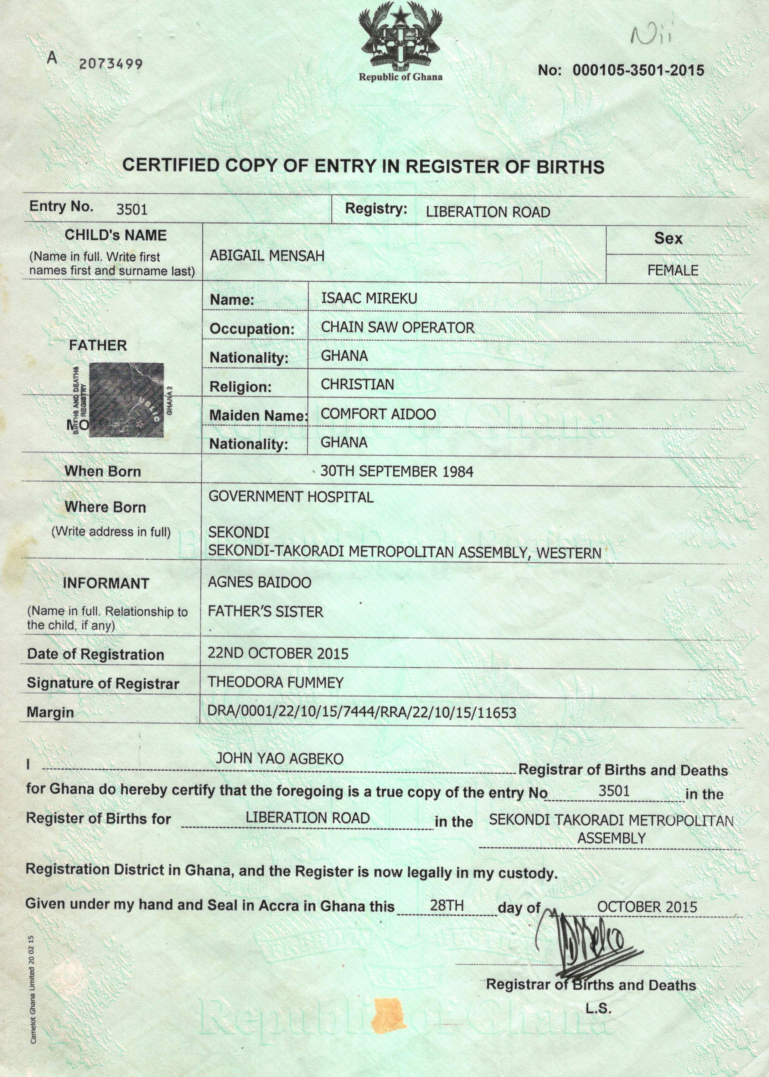 application for certified copy of registered document