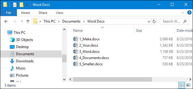 how to make a word document smaller kb