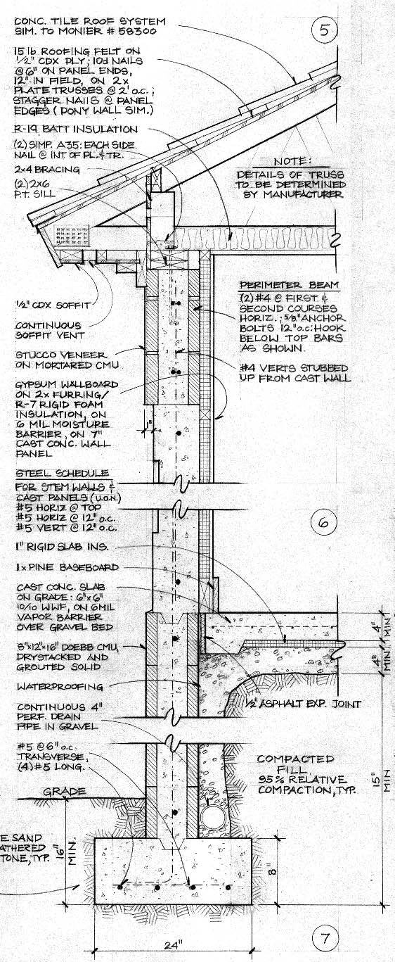 construction document with plans and sections