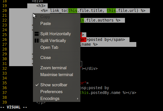 copy from word document to vim