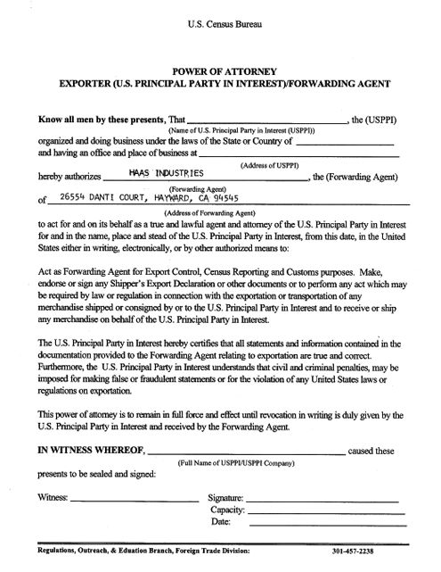 country of origin document template