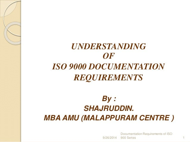who are the iso standards for application documentation