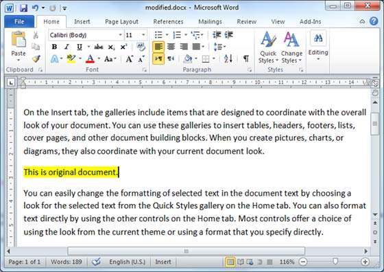 compare two versions of a word document