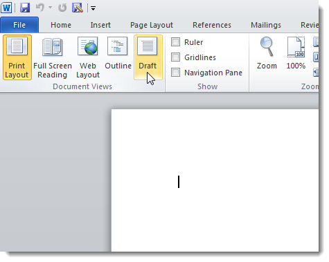 how to add the word draft to a word document
