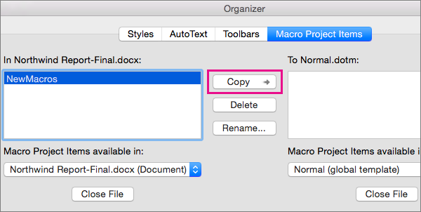 how to make an igore all in word document