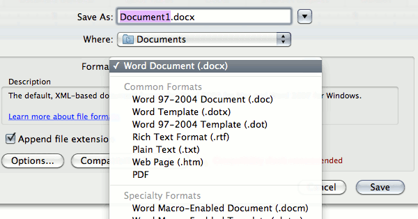 how to save a frozen word document on mac