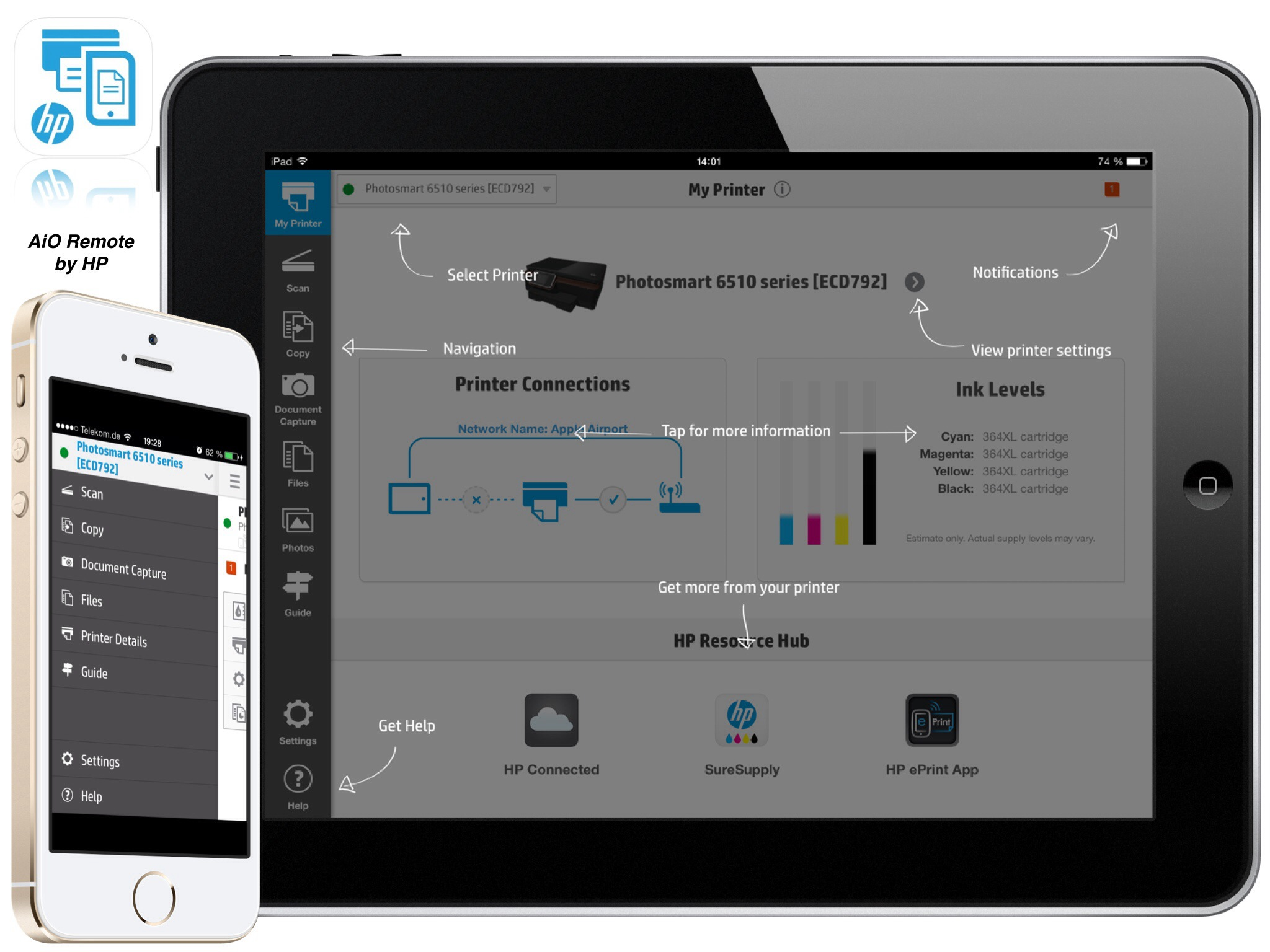 how to scan a document from hp printer to ipad