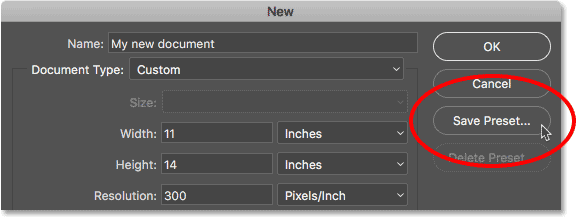 photoshop export new document presets