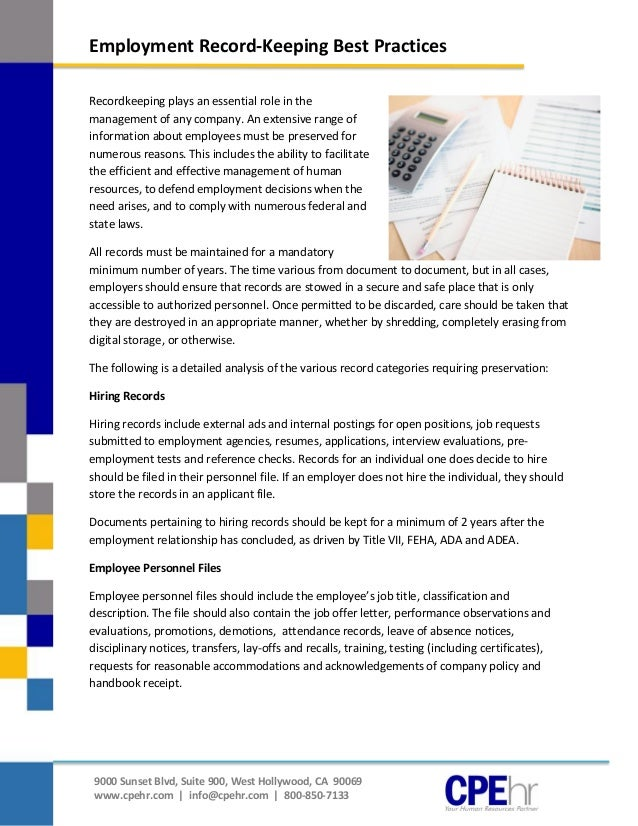 policy document for record keeping for a small business