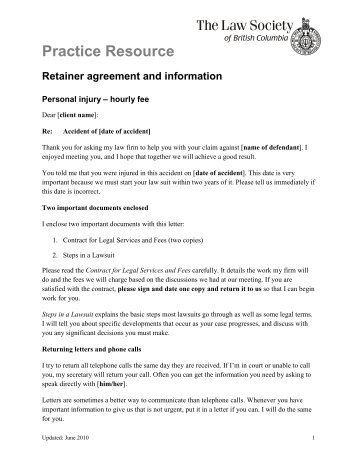 sample retainer agreement document from a lawyer